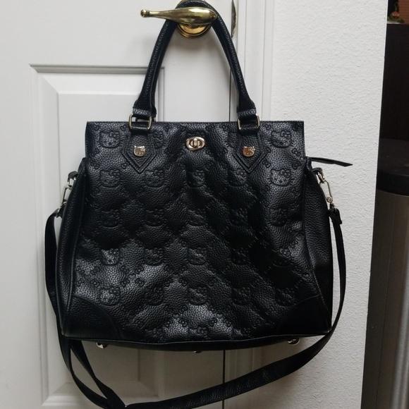 0fbe8ac59a Hello Kitty Handbags - X-Large HELLO KITTY black pleather purse tote bag